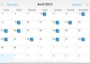 Calendrier Avril 2013